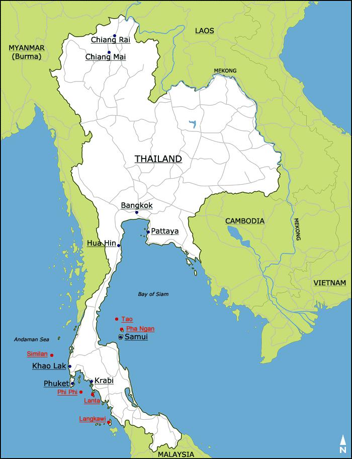 Mapa Thajska