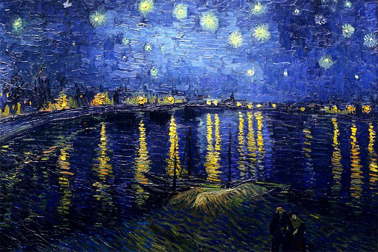 Hvězdná noc nad Rhonou v mysli Van Gogha