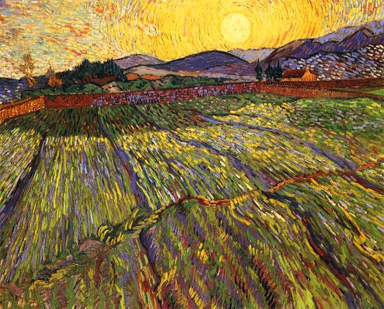 Pohled z Goghova okna na pole a cypřiše