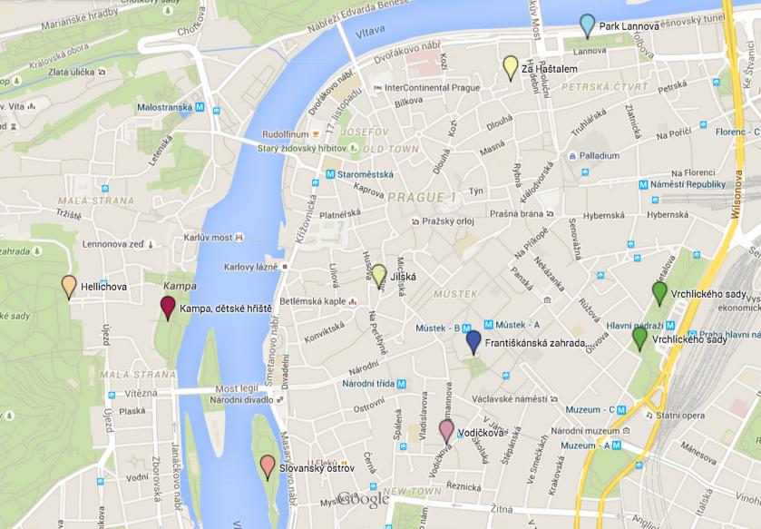 Mapa pítek v centru Prahy