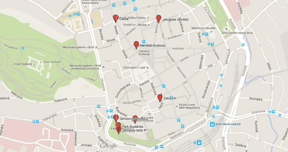 Mapa pítek s pitnou vodou v Brně