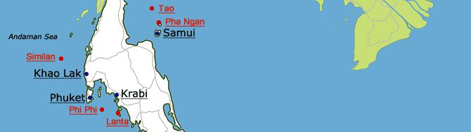 Moje mapa Thajska s nejlepšími místy k navštívení