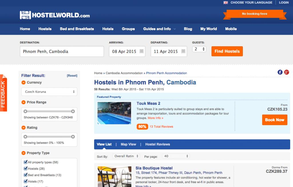 Screenshot stránky Hostelworld.com