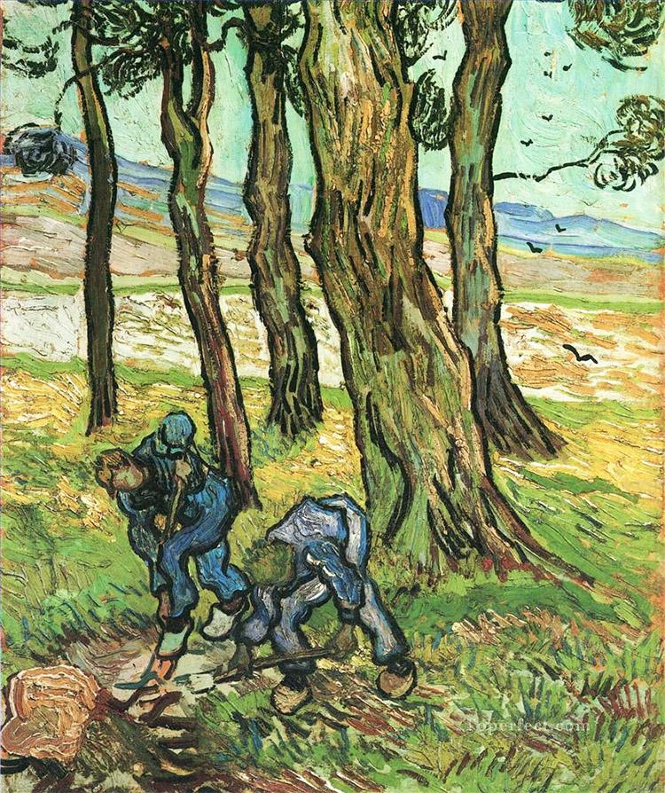 Dva rolníci něco kopou u stromů