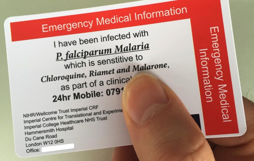 Kartička pro nakaženého Malárií